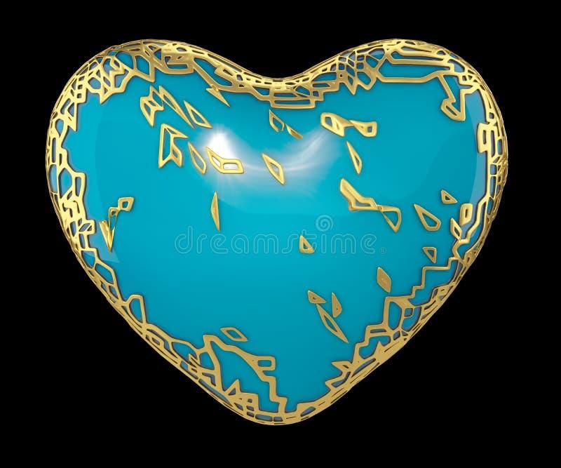 Сердце сделанное в золотом сияющем металлическом 3D при голубая изолированная краска на черной предпосылке стоковое фото