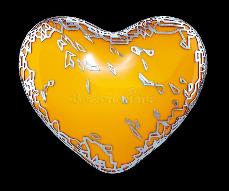 Сердце сделанное в золотом сияющем металлическом 3D с желтой изолированной краской на черной предпосылке стоковые фото