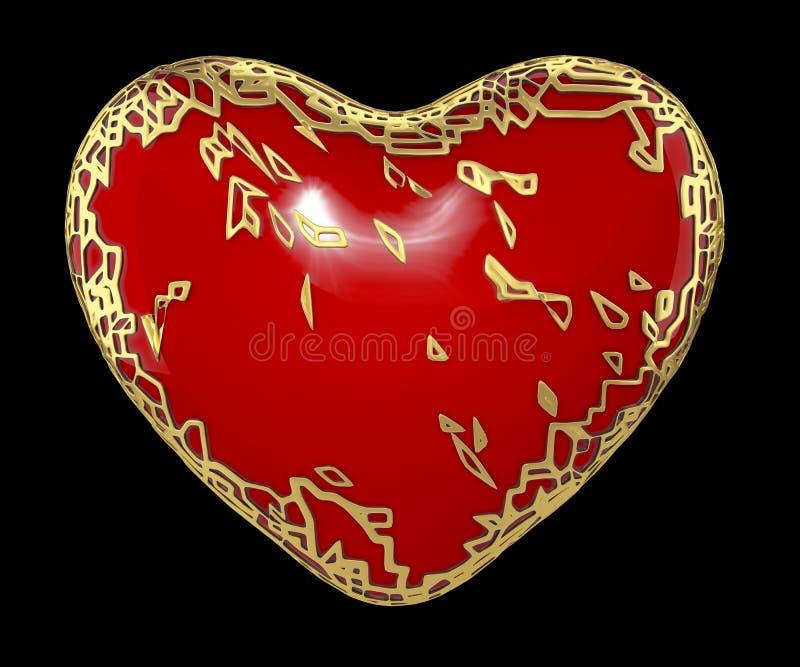 Сердце сделанное в золотом сияющем металлическом 3D с красной изолированной краской на черной предпосылке стоковая фотография