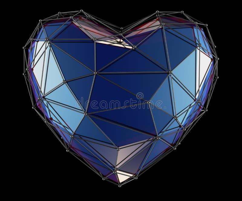 Сердце сделанное в изолированном цвете низкого поли стиля голубом на черной предпосылке 3d стоковое фото rf