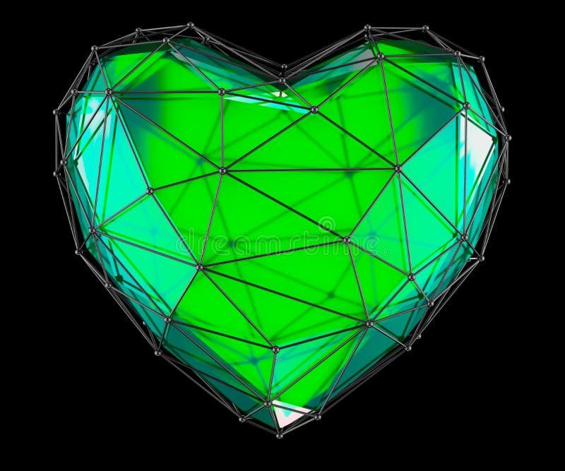 Сердце сделанное в изолированном цвете низкого поли стиля зеленом на черной предпосылке 3d стоковые изображения rf