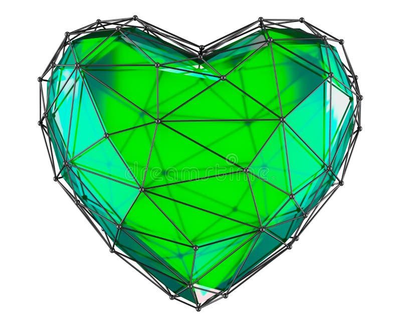 Сердце сделанное в изолированном цвете низкого поли стиля зеленом на белой предпосылке 3d стоковая фотография