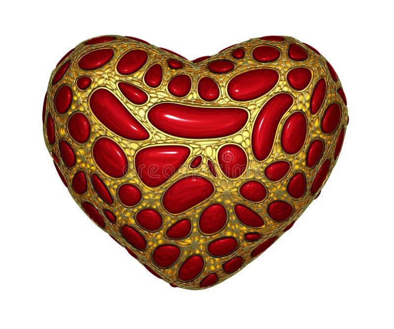Сердце сделанное золотого сияющего металлического 3D при красное изолированное стекло на белой предпосылке стоковая фотография