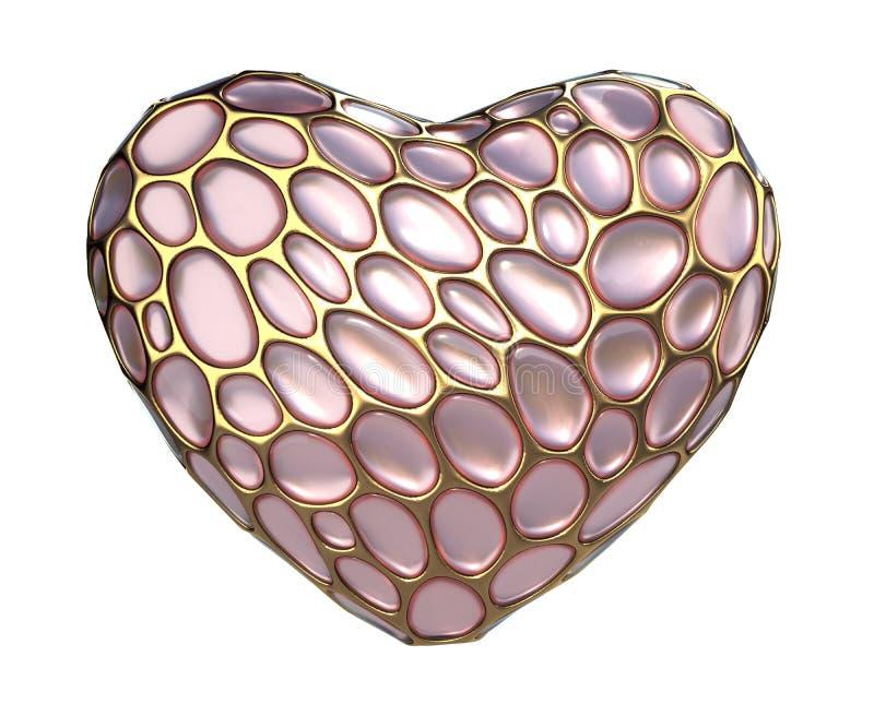 Сердце сделанное золотого сияющего металлического 3D с розовым изолированным стеклом на белой предпосылке стоковые изображения