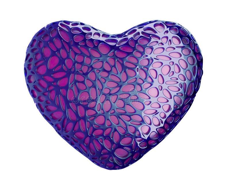 Сердце сделанное из фиолетовой пластмассы при абстрактные изолированные отверстия на белой предпосылке 3d стоковое изображение