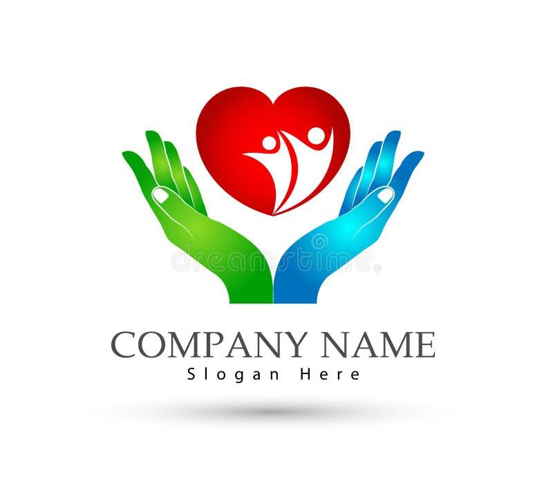 Сердце семьи держа соединение семьи значка рук, любит заботу в сердце с логотипом рук иллюстрация вектора