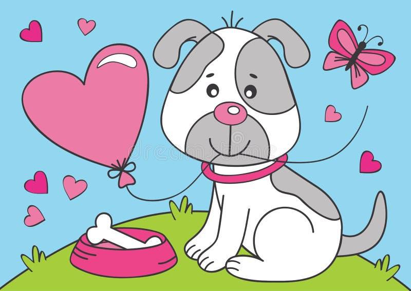 сердце собаки воздушного шара милое иллюстрация вектора