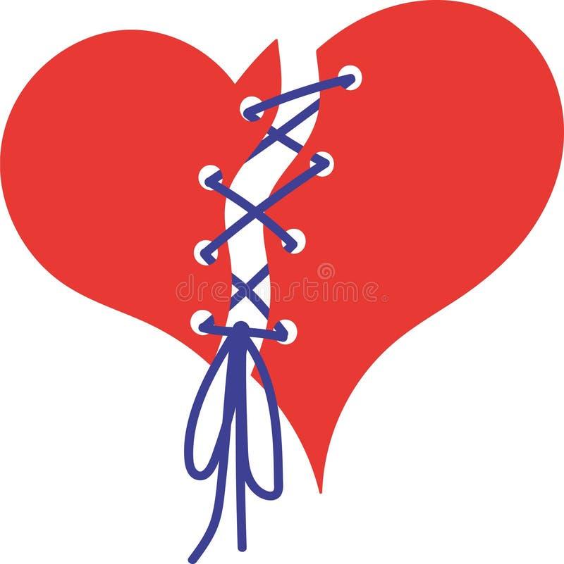 Сердце сорванное в половине и связанное вверх с шнуром иллюстрация штока