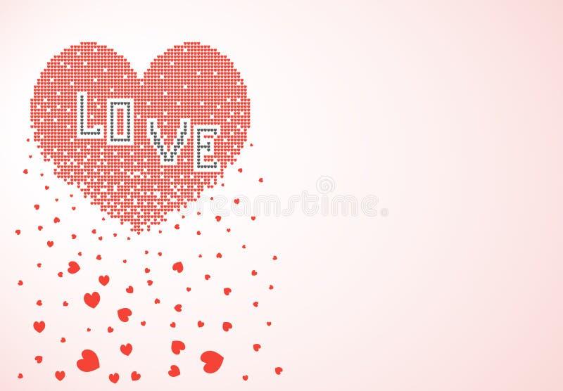 Сердце состоя из много небольших сердец пиксела растворяет, крошит в форме листьев Вектор, знамя, изолированная предпосылка иллюстрация штока