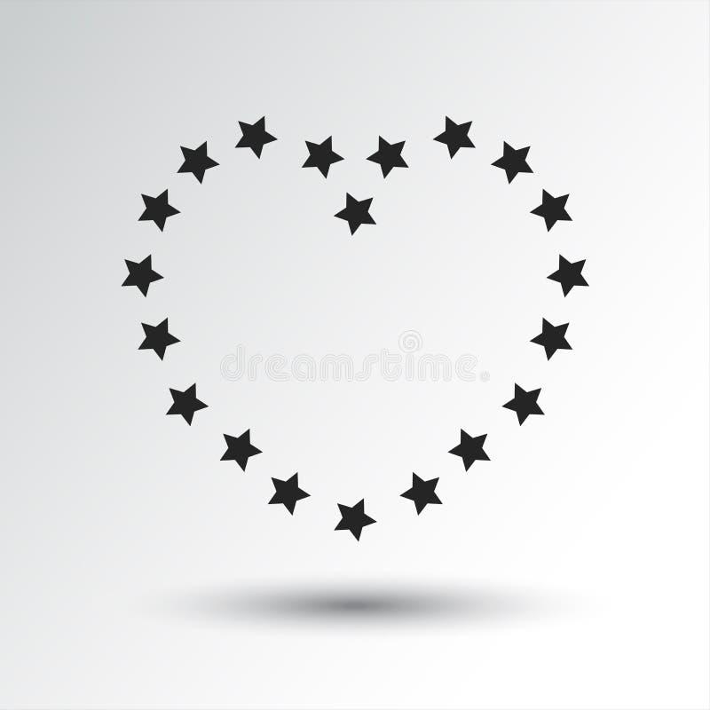 Сердце со звездами, черный значок r иллюстрация вектора