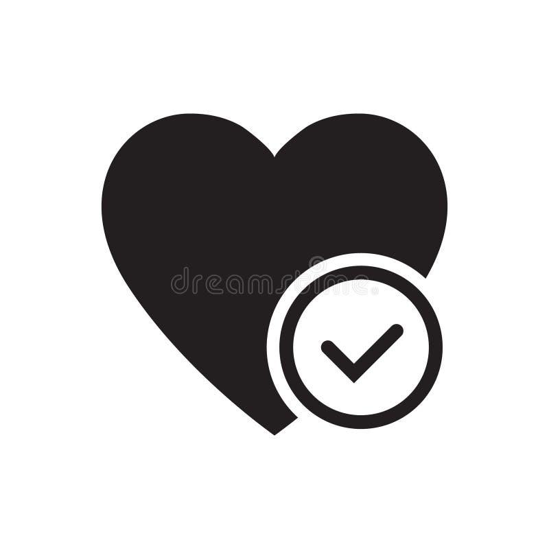 Сердце со значком глифа галочки Здравоохранение Символ Силуэт Кардиология Отрицательное пространство Растровая изолированная иллю иллюстрация вектора