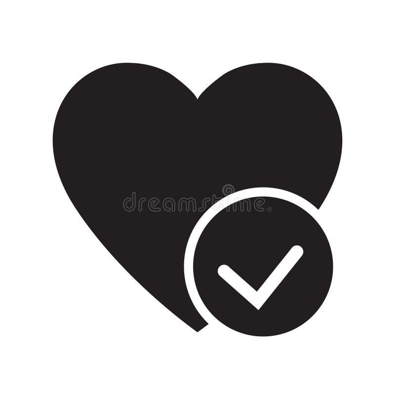 Сердце со значком глифа галочки Здравоохранение Символ Силуэт Кардиология Отрицательное пространство Растровая изолированная иллю бесплатная иллюстрация