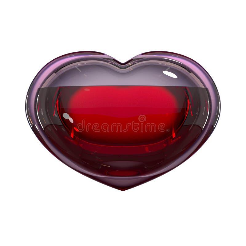 Сердце стекла заполненное с кровью изолированное на белом пути предпосылки и клиппирования Концепция: надежда, донорство крови, ж иллюстрация штока