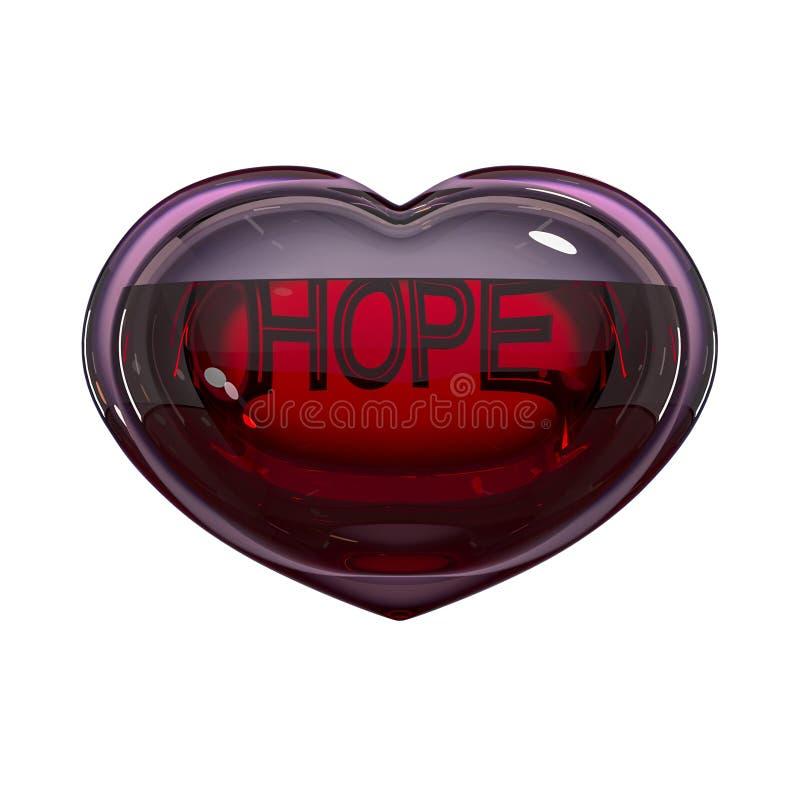 Сердце стекла заполненное с кровью с надписью иллюстрация вектора