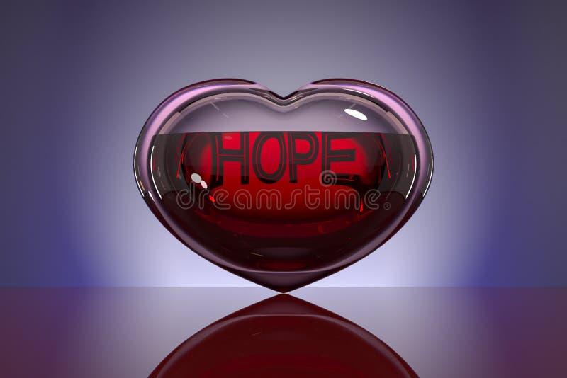 Сердце стекла, заполненное с кровью с надписью иллюстрация вектора