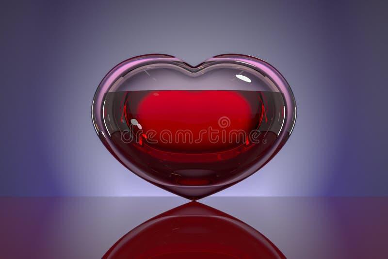 Сердце стекла, заполненное с кровью на темной предпосылке с отражением Концепция: надежда, донорство крови, жизнь, любовь иллюстрация вектора