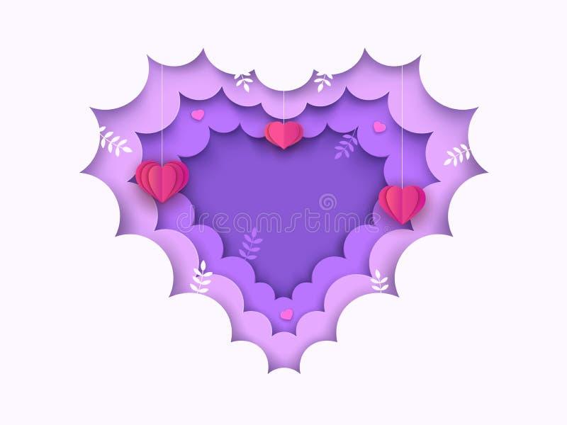 Сердце сформировало бумажную отрезанную предпосылку с облаками, вися сердцами, ветвями Рамка дня Валентайн декоративная или свадь иллюстрация штока