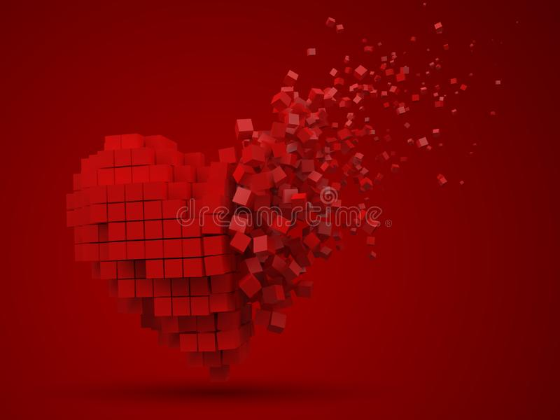 Сердце сформировало, растворяющ блок данных сделанный с красными кубами иллюстрация вектора стиля пиксела 3d иллюстрация вектора