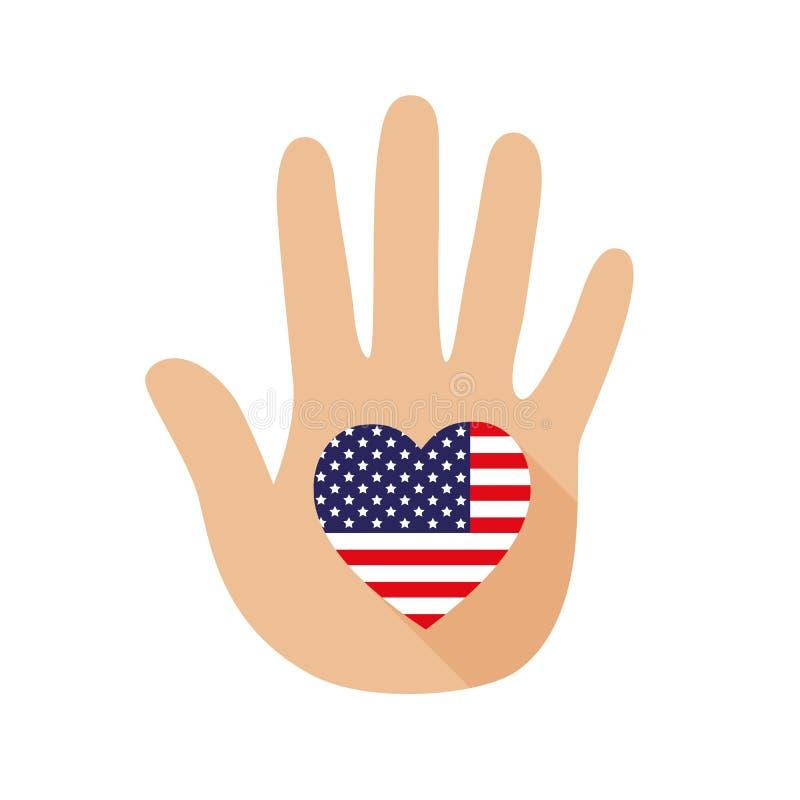Сердце сформировало флаг Америки в руке зацепляет икону иллюстрация штока