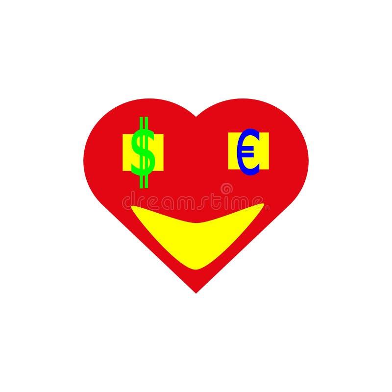 Сердце с деньгами в глазах бесплатная иллюстрация