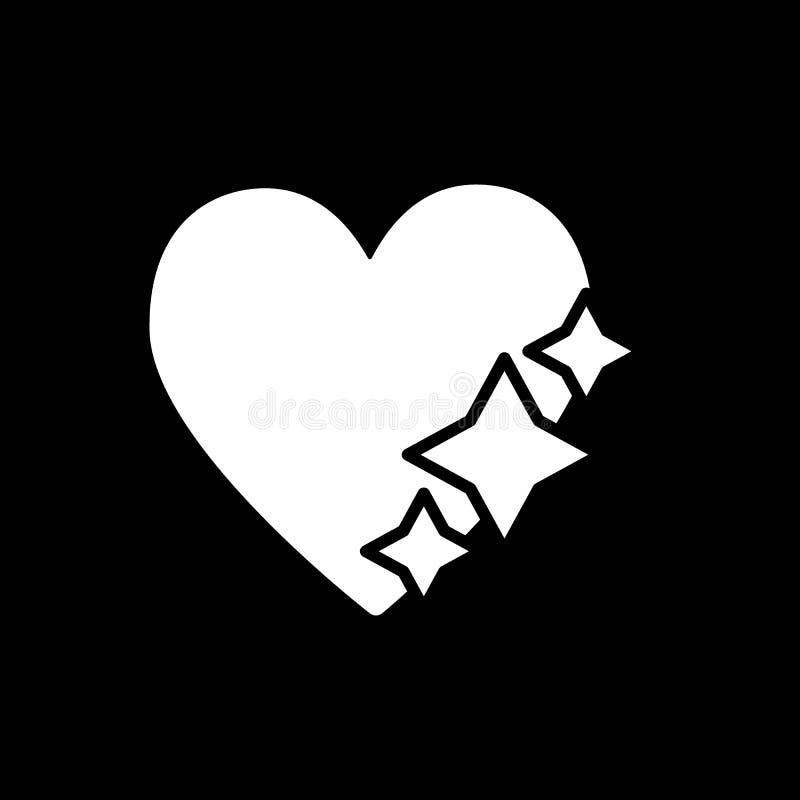 Сердце с значком твердого тела звезд Иллюстрация вектора влюбленности изолированная на черноте Сияющий конструированный дизайн ст иллюстрация штока