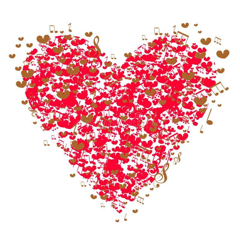 Сердце с красивой текстурой небольших сердец и музыкальных примечаний Декоративный элемент, картина на день Валентайн вектор бесплатная иллюстрация