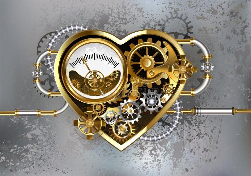 Сердце с манометром Steampunk иллюстрация вектора