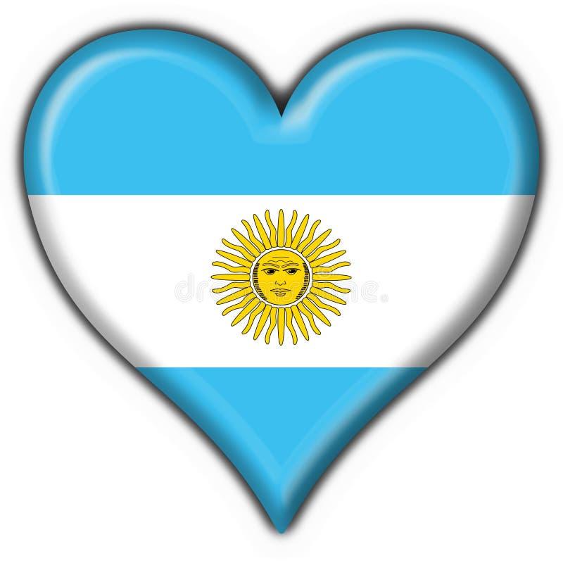 сердце флага кнопки Аргентины иллюстрация вектора