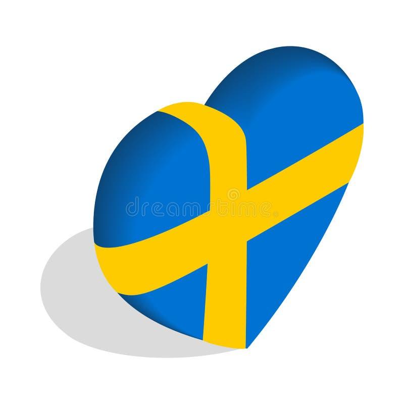Сердце флага Швеции красит значок иллюстрация штока