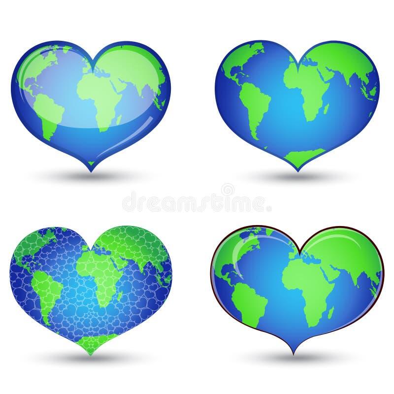 сердце формы земли иллюстрация штока