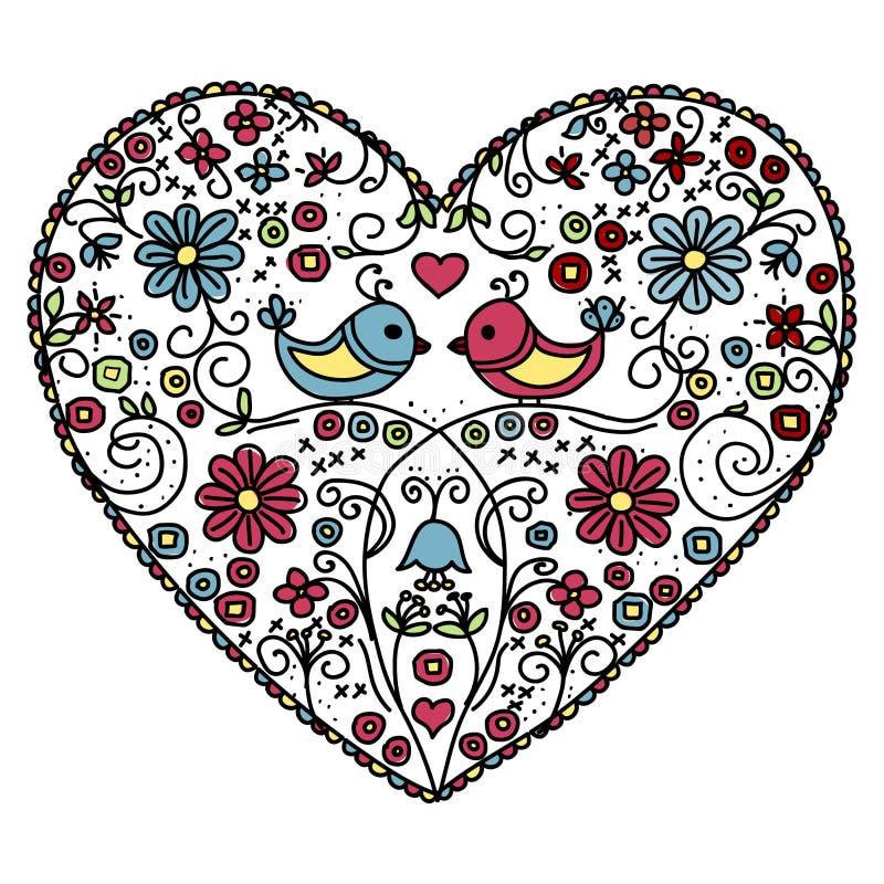 Сердце цветка с птицами бесплатная иллюстрация