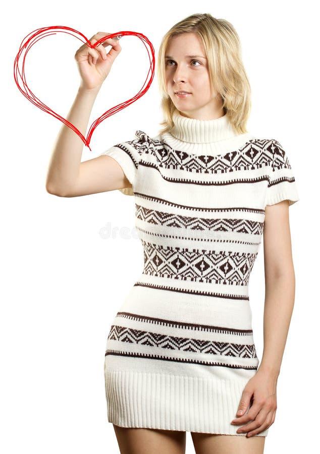 сердце чертежа формирует женщину стоковая фотография rf