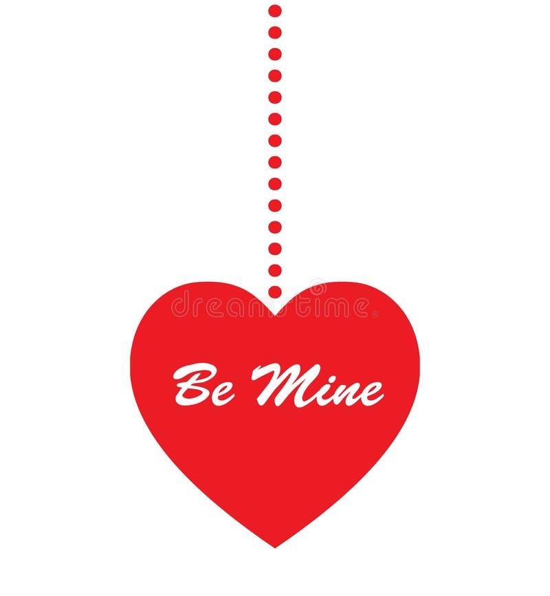 Сердце шахты в красном цвете вися на веревочке Дизайн значка дня Святого Валентина конспекта плоский иллюстрация штока