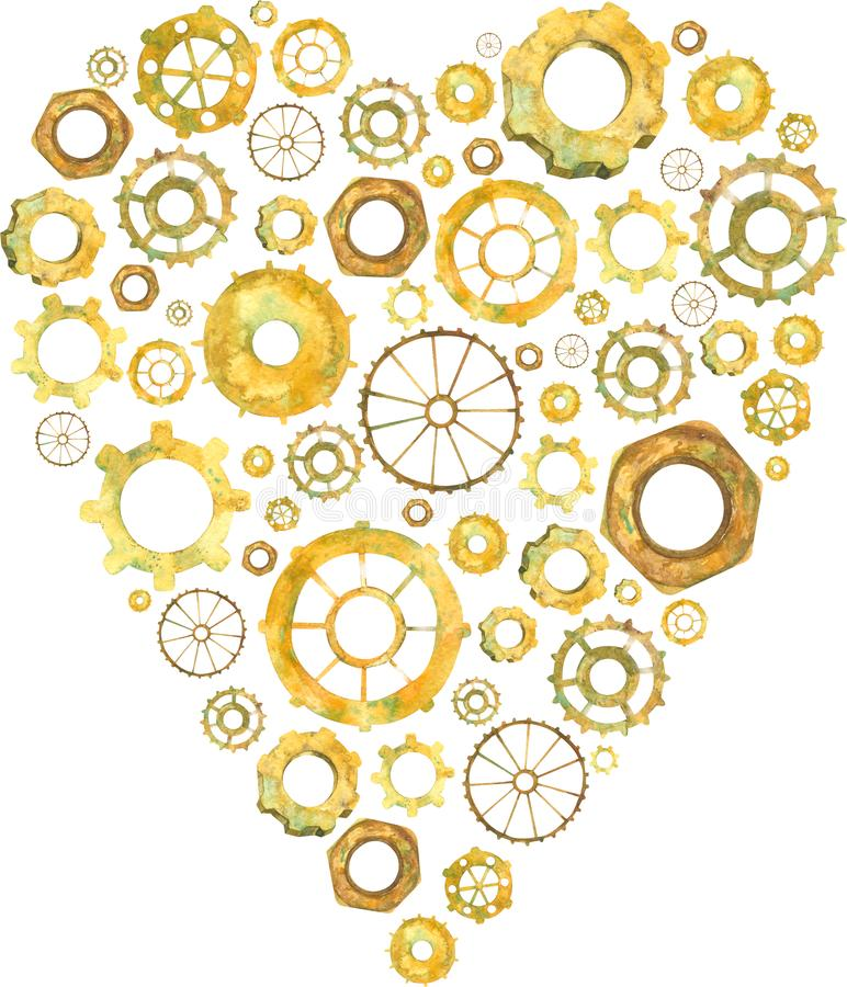 Сердце, шестерня, сердце колеса, любовь дела, иллюстрация акварели бесплатная иллюстрация