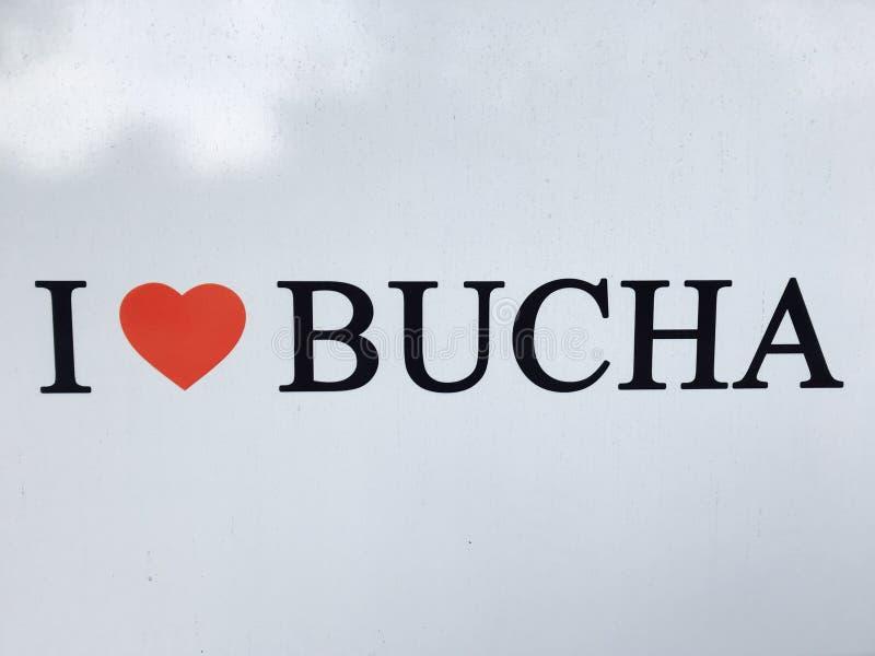 Сердце Bucha I подписывает внутри Bucha - ВЛЮБЛЕННОСТЬ - BUCHA - УКРАИНА стоковое фото