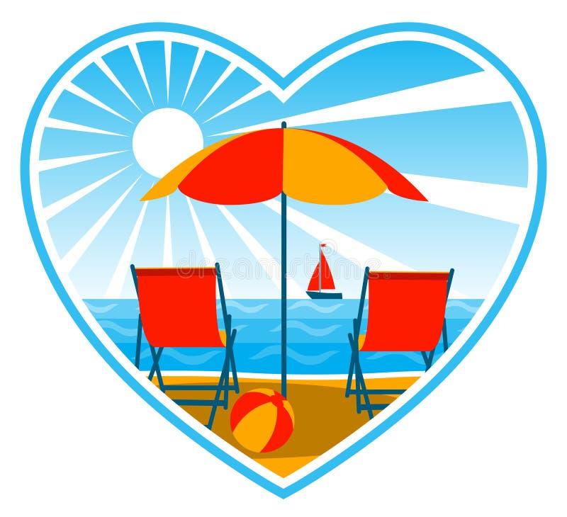 сердце deckchairs пляжа бесплатная иллюстрация