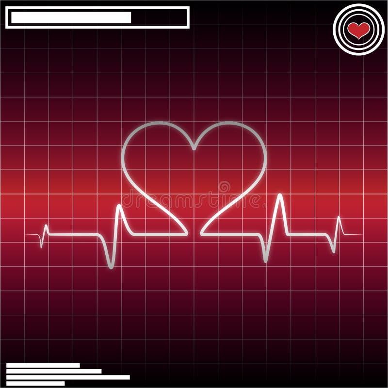 сердце ecg удара иллюстрация вектора