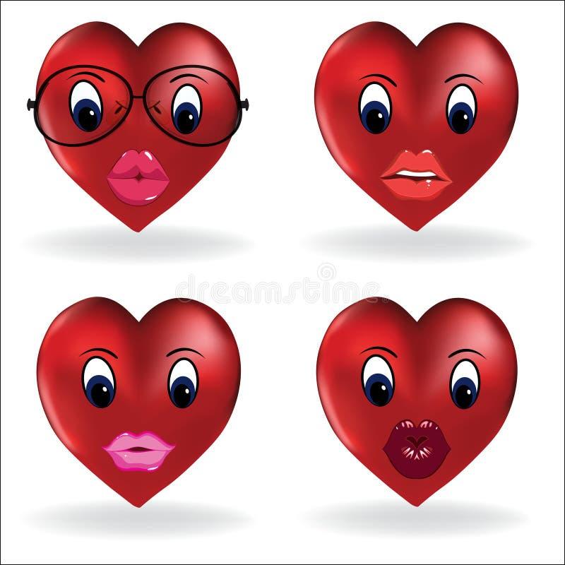 Сердце Emoji, smiley создатель губы Собрание дизайна вектора частей тела и аксессуаров смайлика позволяет вам создать ваше иллюстрация вектора