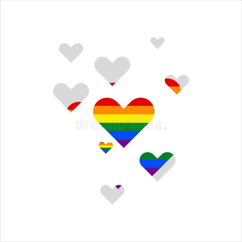 Сердце LGBT белизна изолированная предпосылкой Гомосексуальная иллюстрация значка иллюстрация штока