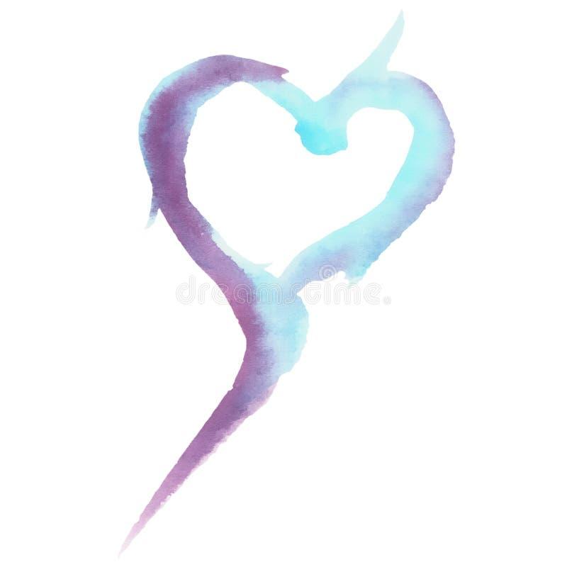 Сердце Watercolour голубое и пурпуром покрашенное текстурированное иллюстрация вектора
