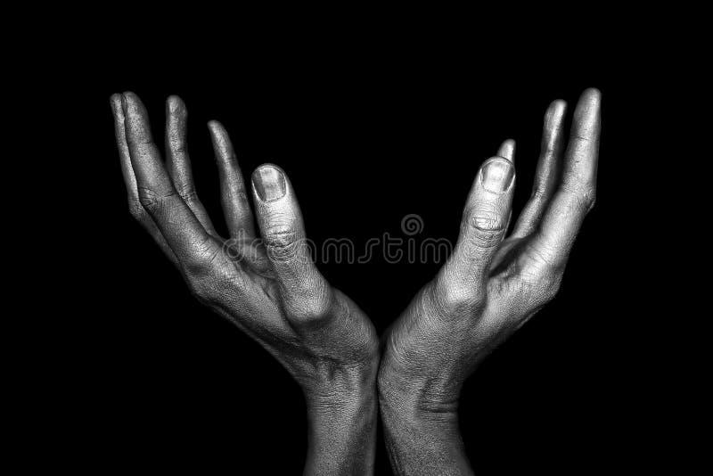 Серебристые мыжские руки стоковое фото