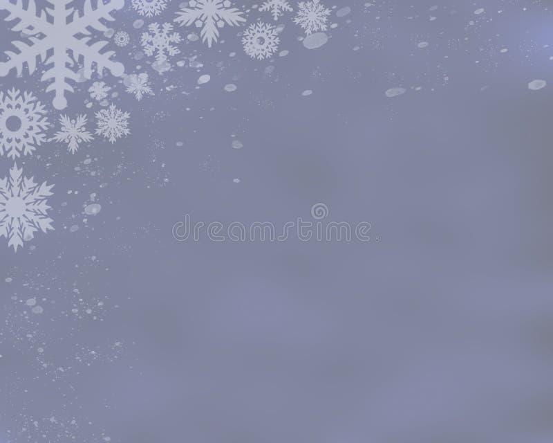 Серебряная голубая предпосылка со снежинками стоковое изображение
