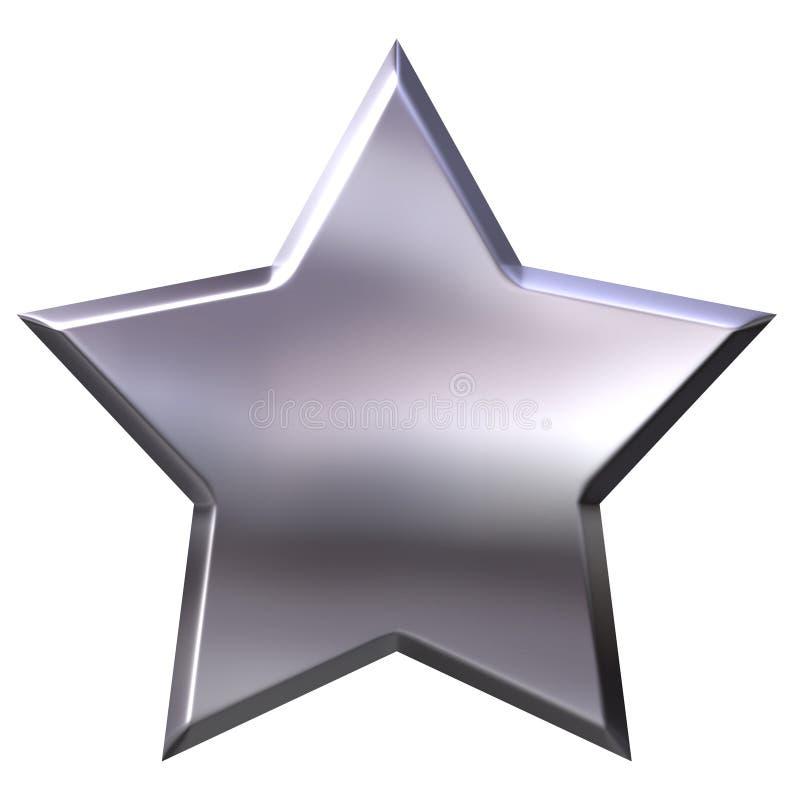 серебряная звезда 3d иллюстрация штока