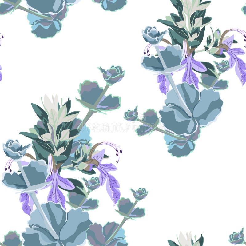 Серебряная красочная суккулентная печать дизайна вектора Echeveria безшовная Естественная печать кактуса с фиолетовыми травами в  иллюстрация штока