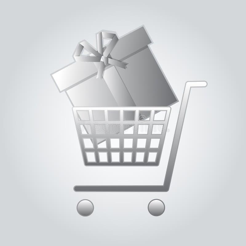 Серебряная магазинная тележкаа с подарочной коробкой бесплатная иллюстрация