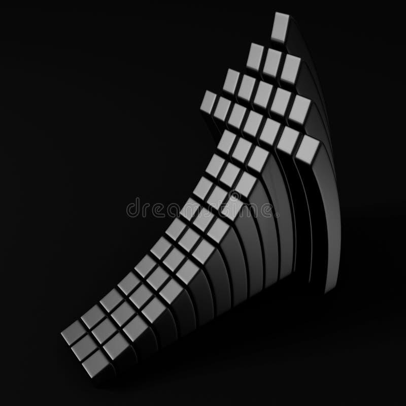 Серебряная металлическая стрелка кубика идя вверх в темноту иллюстрация вектора