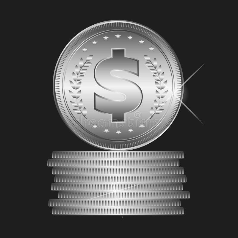 Серебряная монета, вектор стоковая фотография rf