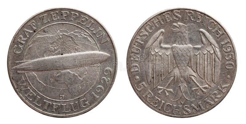 Серебряная монета 5 Германии немецкая республика Веймара Зеппелина 5 меток стоковые фото