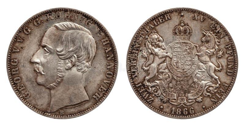 Серебряная монета 2 Германии немецкая талер Ганновер 2 талеров двойной чеканила 1866 изолированное на белой предпосылке стоковые фото