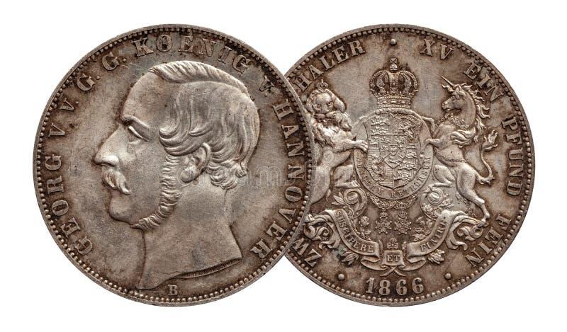 Серебряная монета 2 Германии немецкая талер Ганновер 2 талеров двойной чеканила 1866 изолированное на белой предпосылке стоковое изображение rf